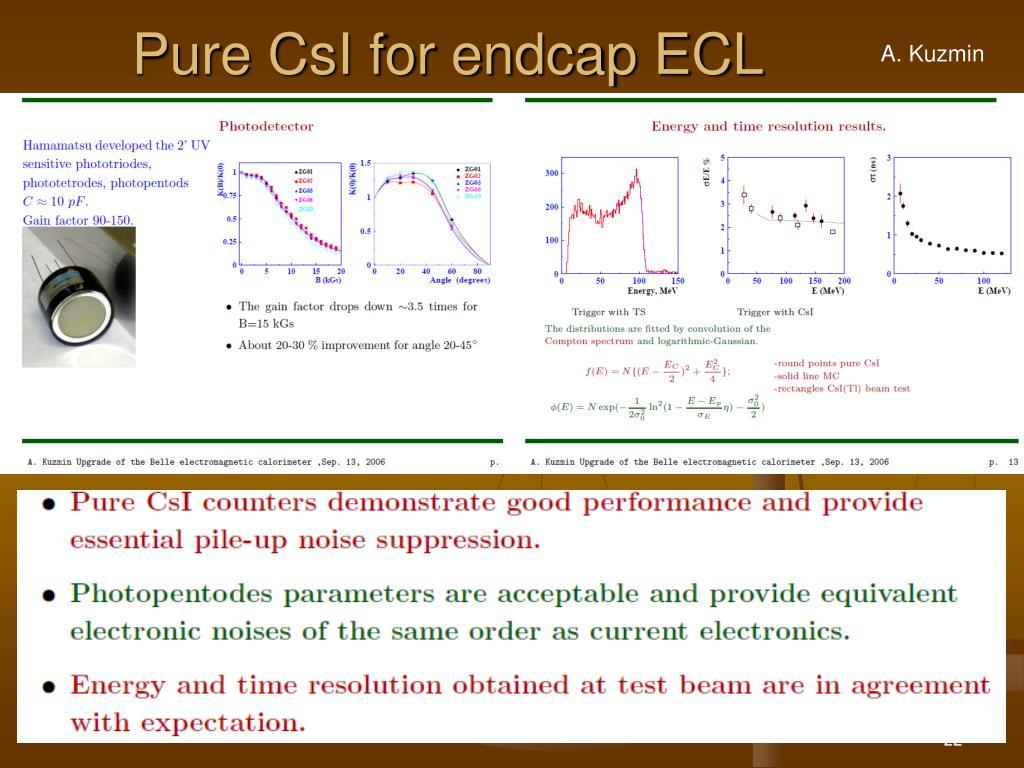 Pure CsI for endcap ECL