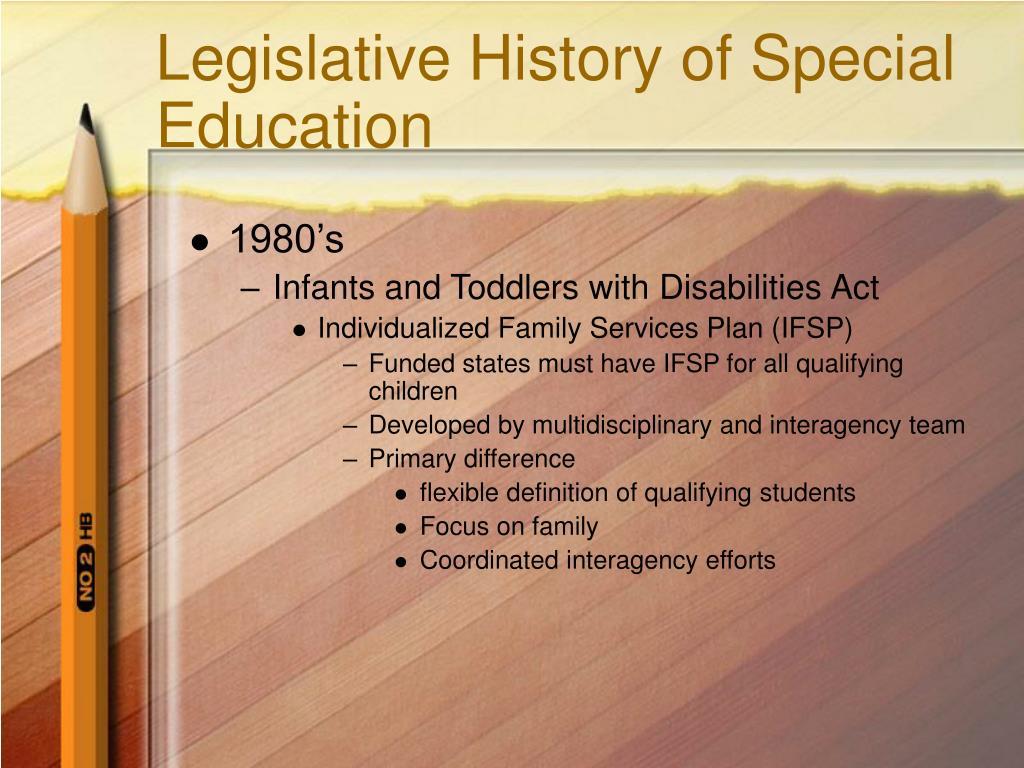 Legislative History of Special Education