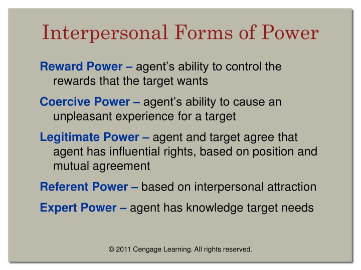 Interpersonal forms of power