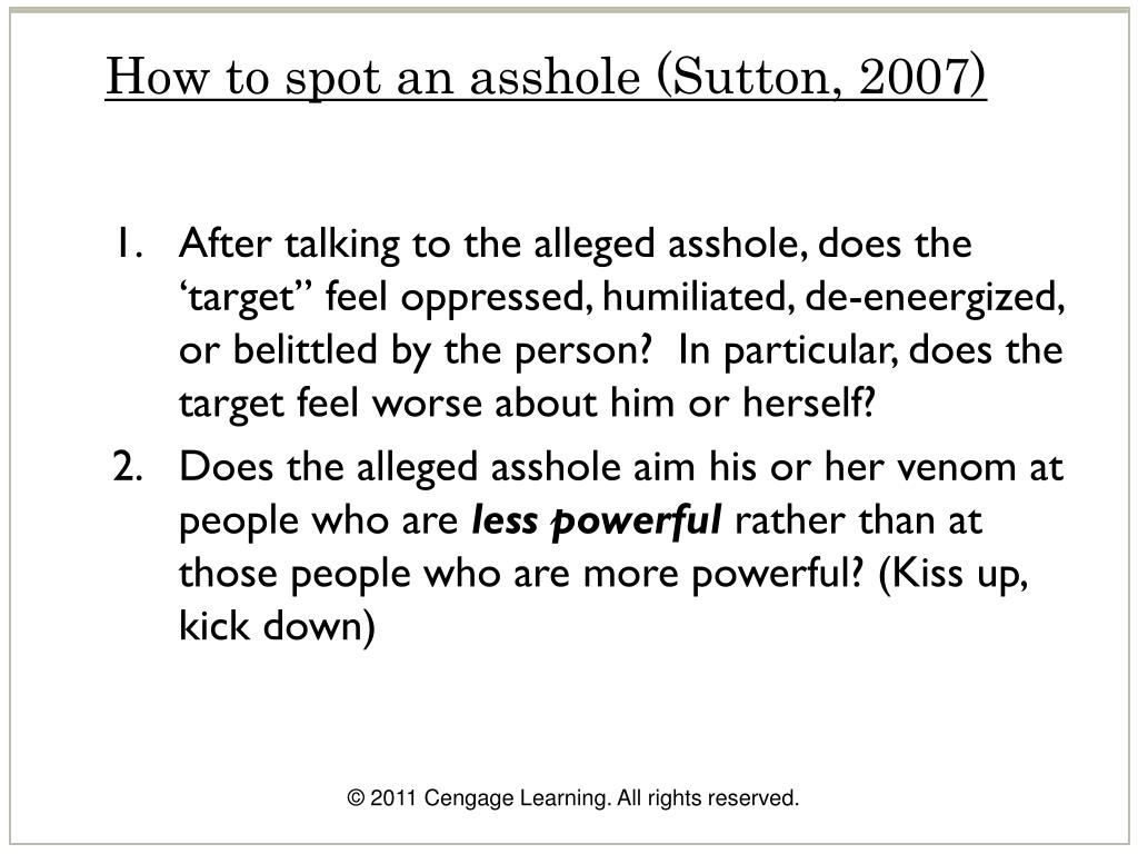 How to spot an asshole (Sutton, 2007)