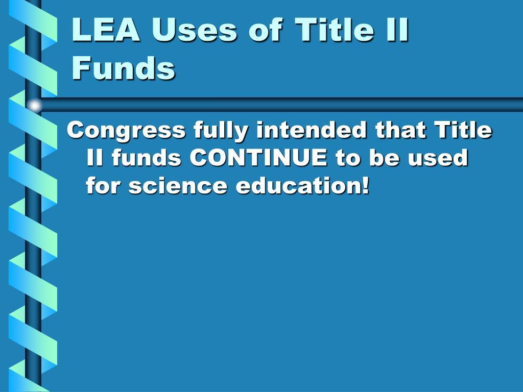 LEA Uses of Title II Funds