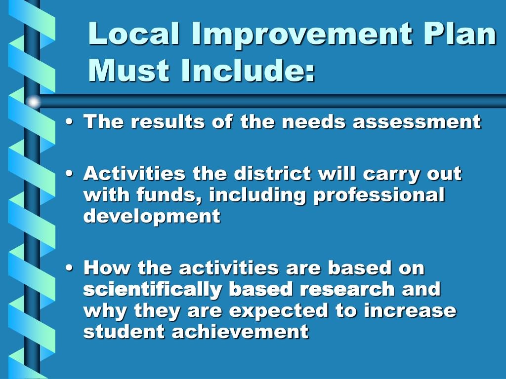 Local Improvement Plan Must Include: