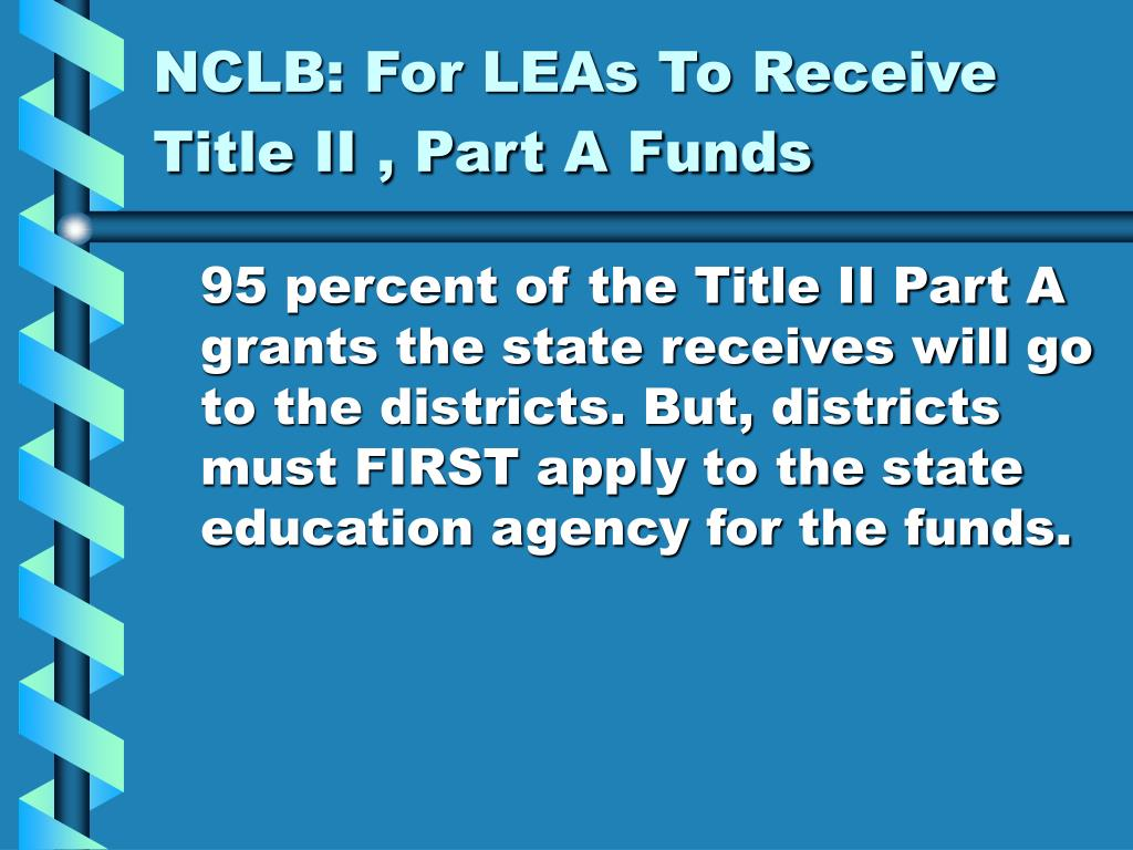 NCLB: For LEAs To Receive Title II , Part A Funds