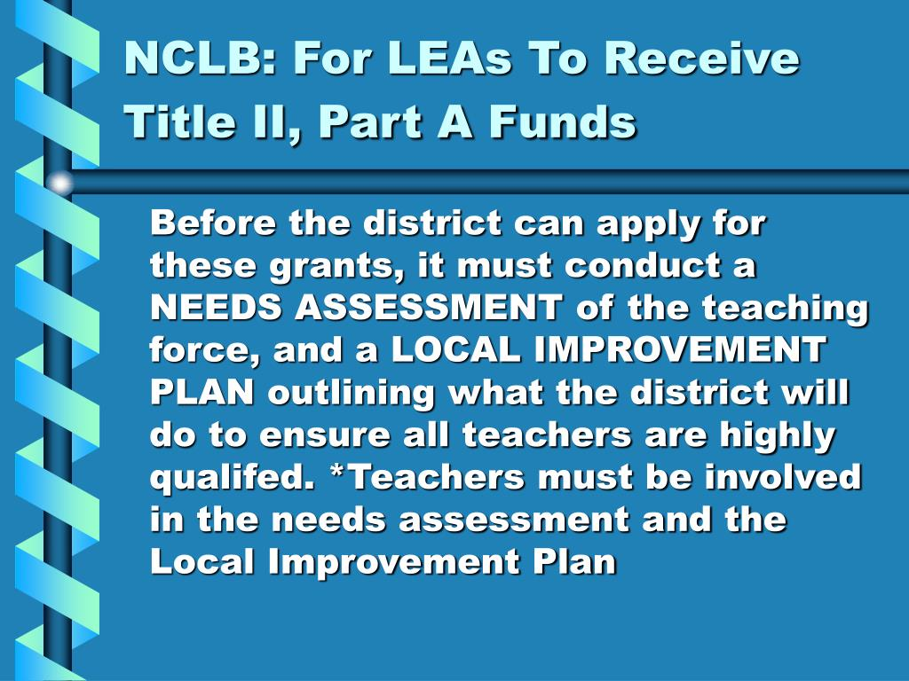 NCLB: For LEAs To Receive Title II, Part A Funds