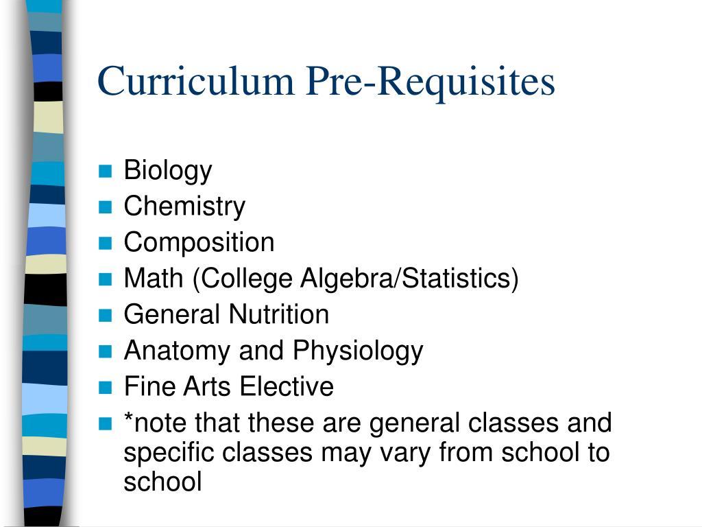 Curriculum Pre-Requisites