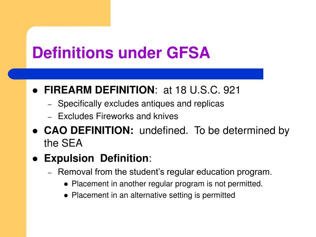 Definitions under GFSA