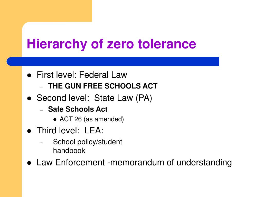 Hierarchy of zero tolerance