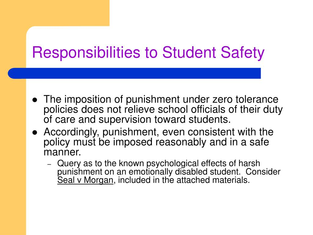 Responsibilities to Student Safety
