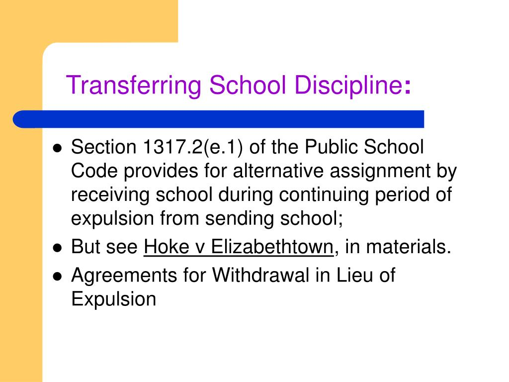 Transferring School Discipline