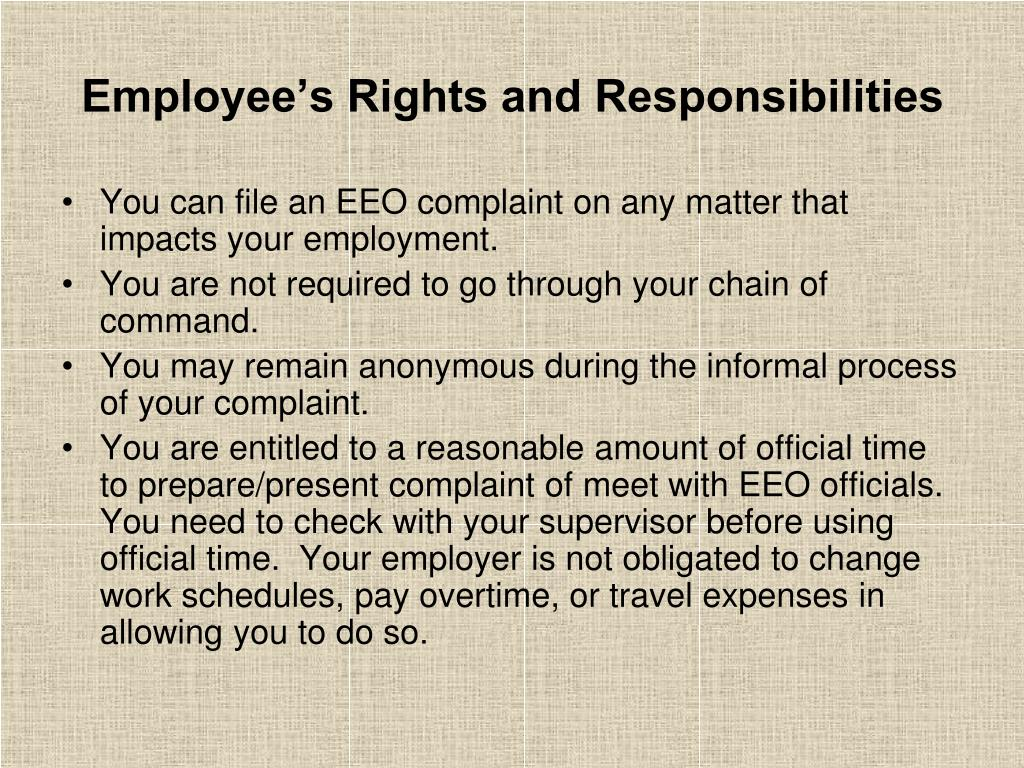 Employee's Rights and Responsibilities