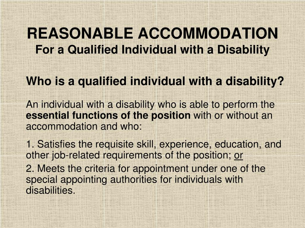 REASONABLE ACCOMMODATION