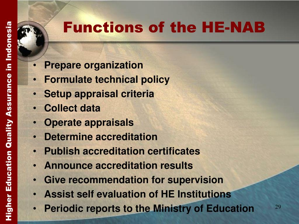 Functions of the HE-NAB