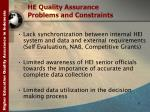 he quality assurance problems and constraints
