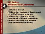 he system problems and constraints