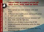 problems in compilation of self eval nab and qa data