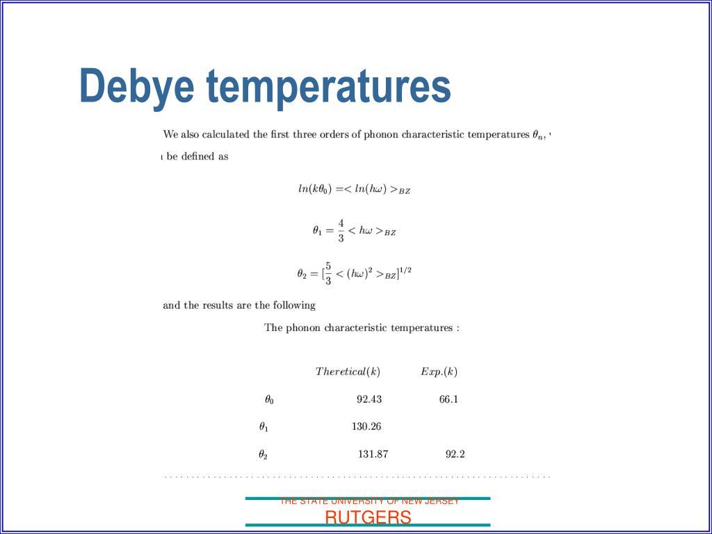 Debye temperatures