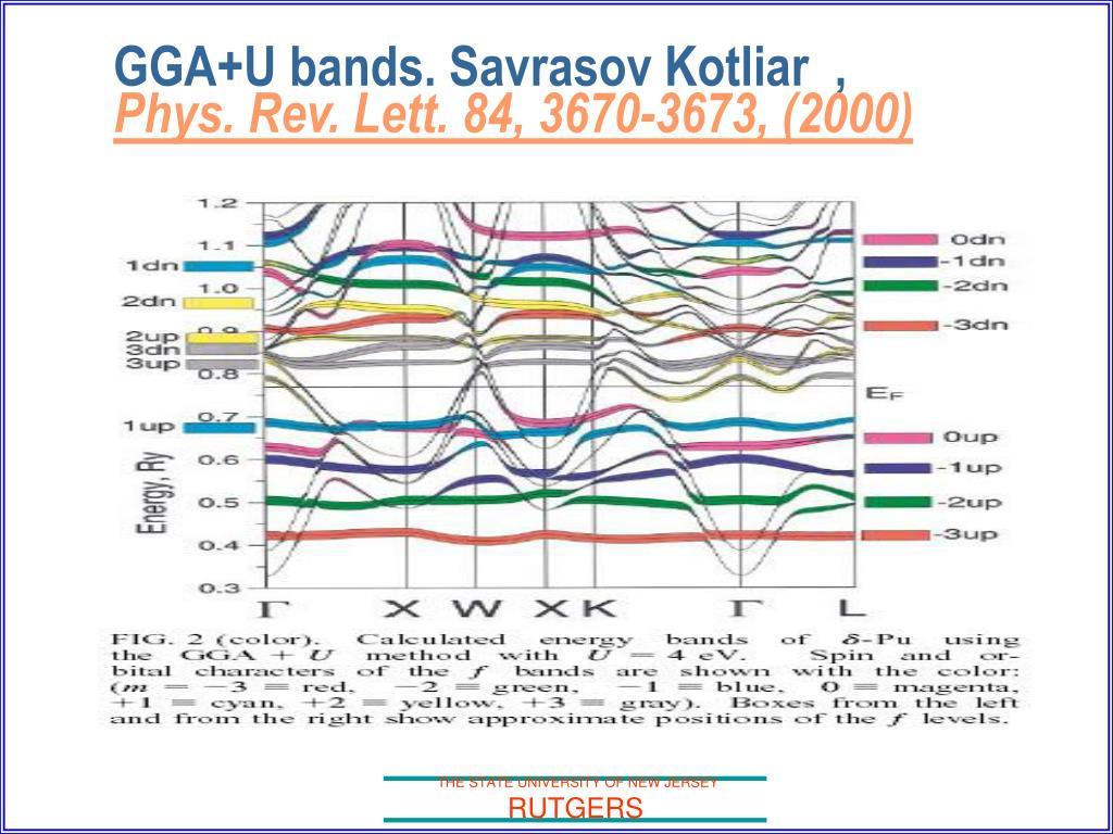 GGA+U bands. Savrasov Kotliar  ,