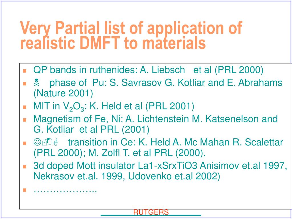 QP bands in ruthenides: A. Liebsch   et al (PRL 2000)