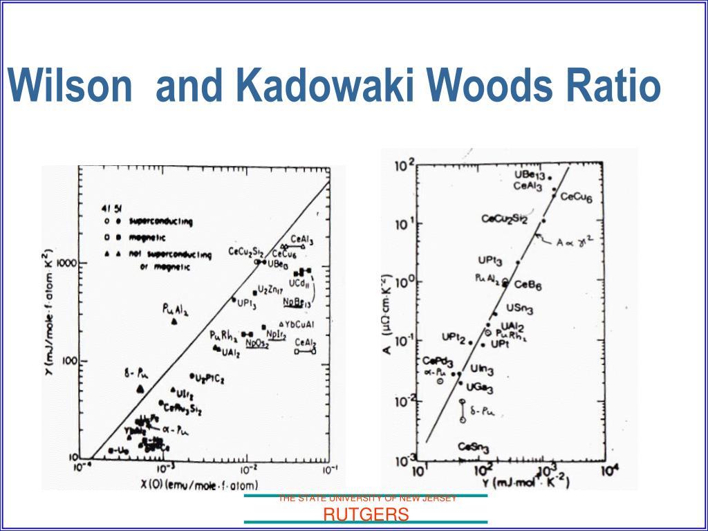 Wilson  and Kadowaki Woods Ratio