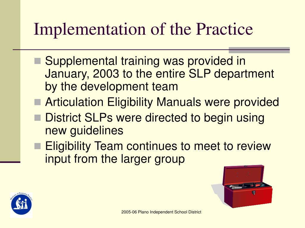 Implementation of the Practice
