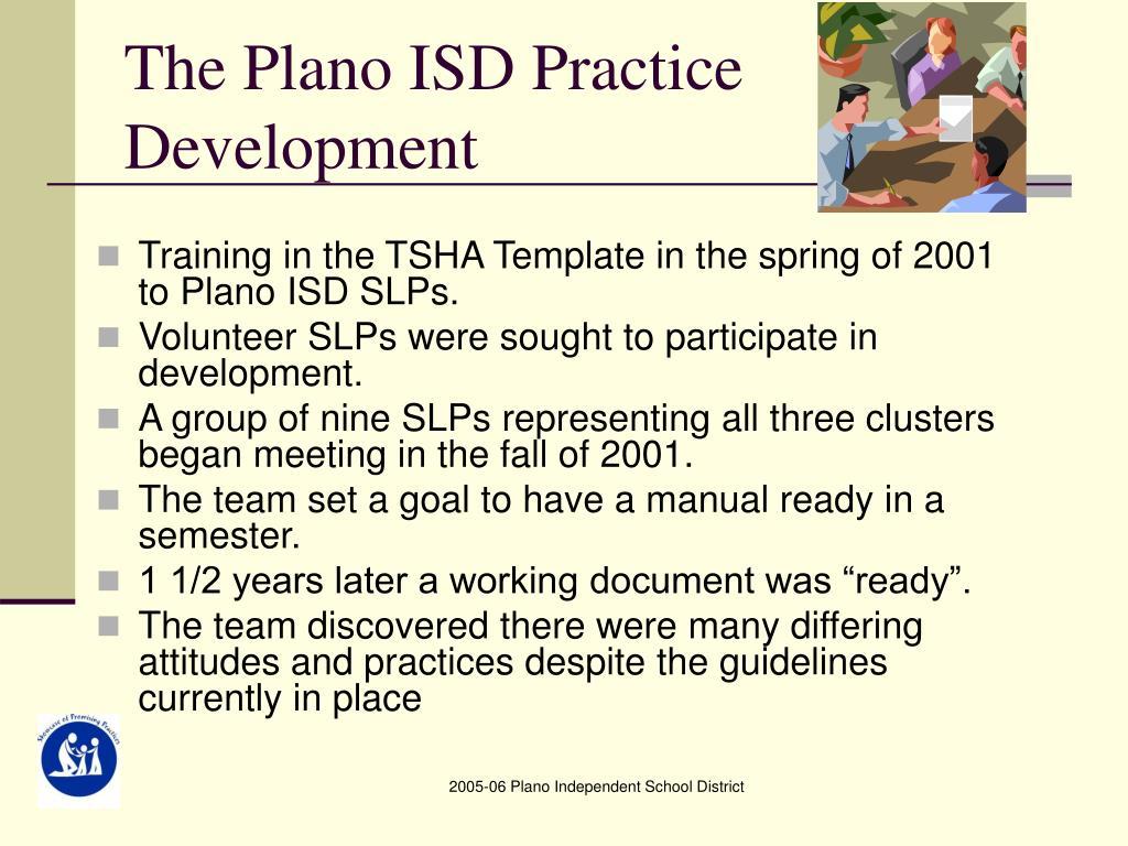 The Plano ISD Practice Development