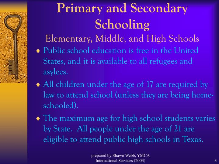 Primary and secondary schooling elementary middle and high schools