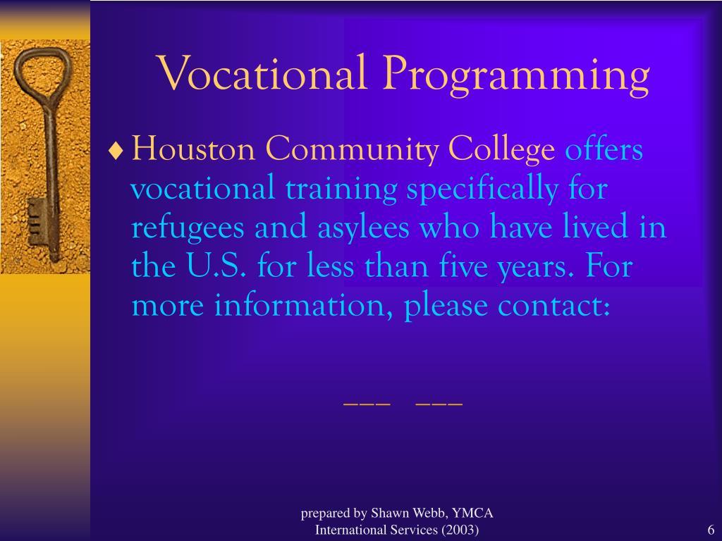 Vocational Programming