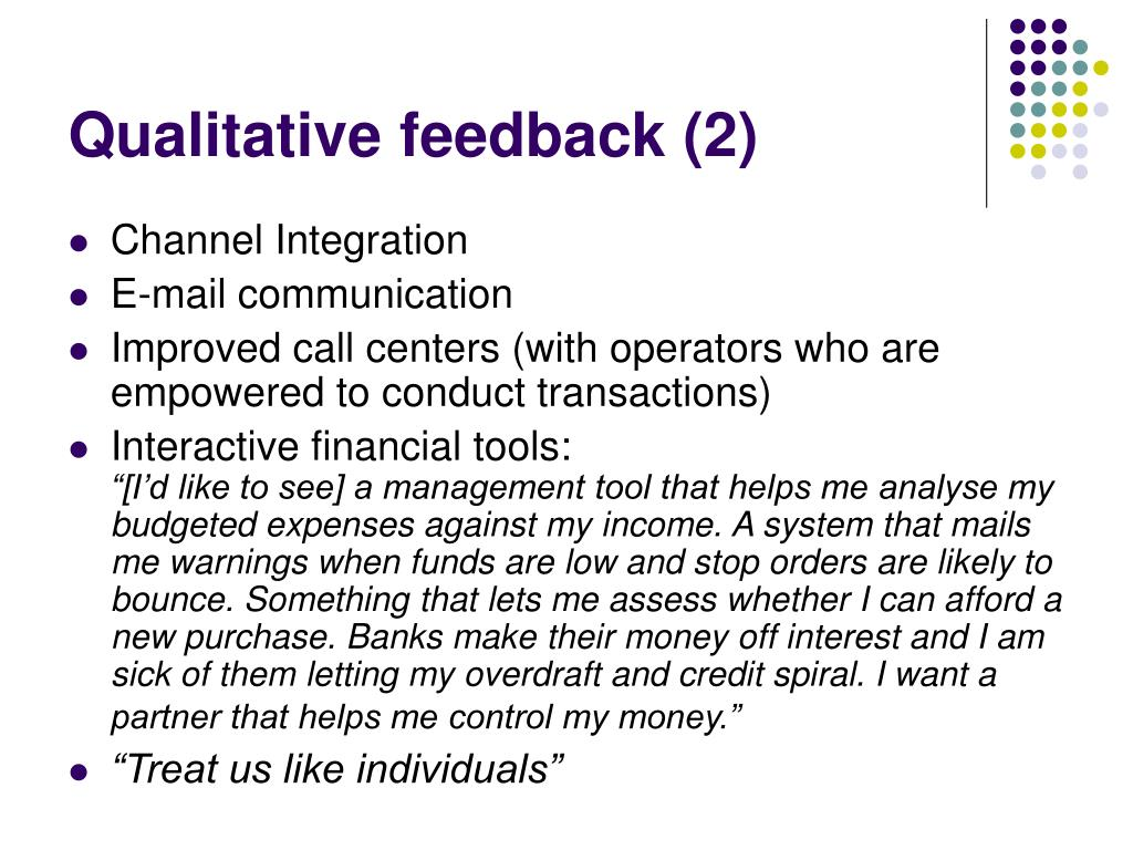 Qualitative feedback (2)