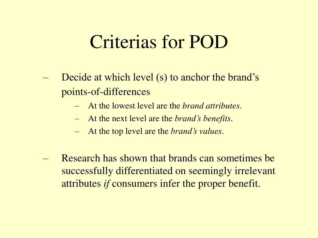 Criterias for POD