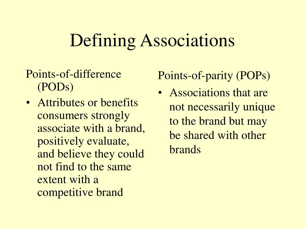 Points-of-difference (PODs)