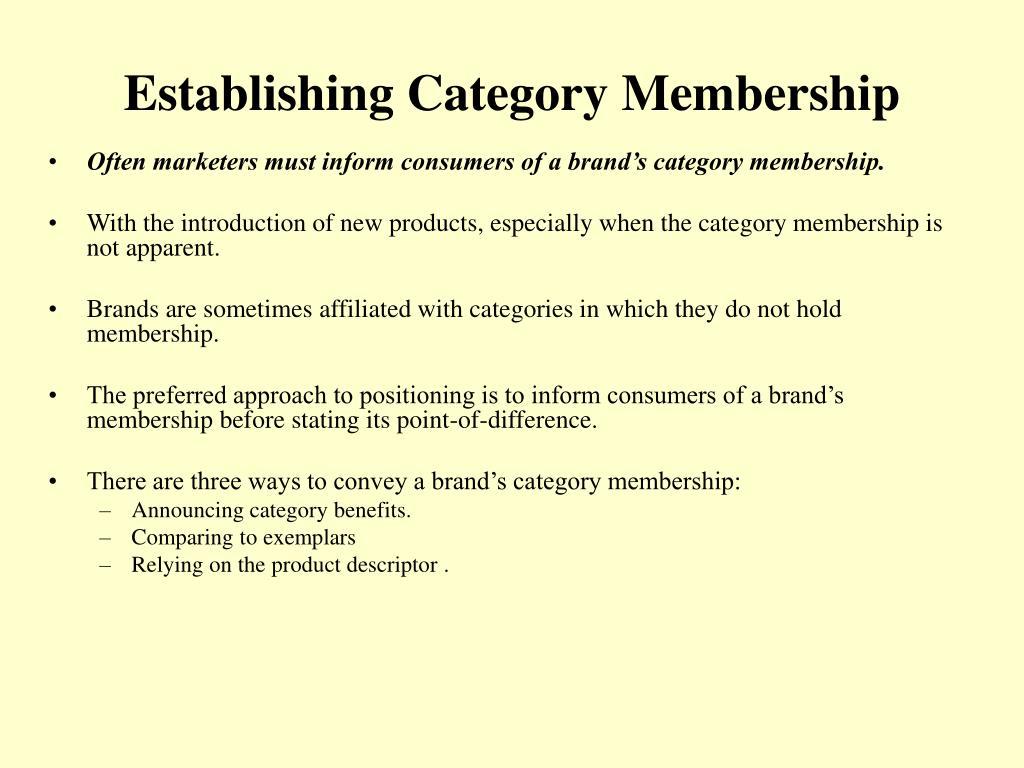 Establishing Category Membership