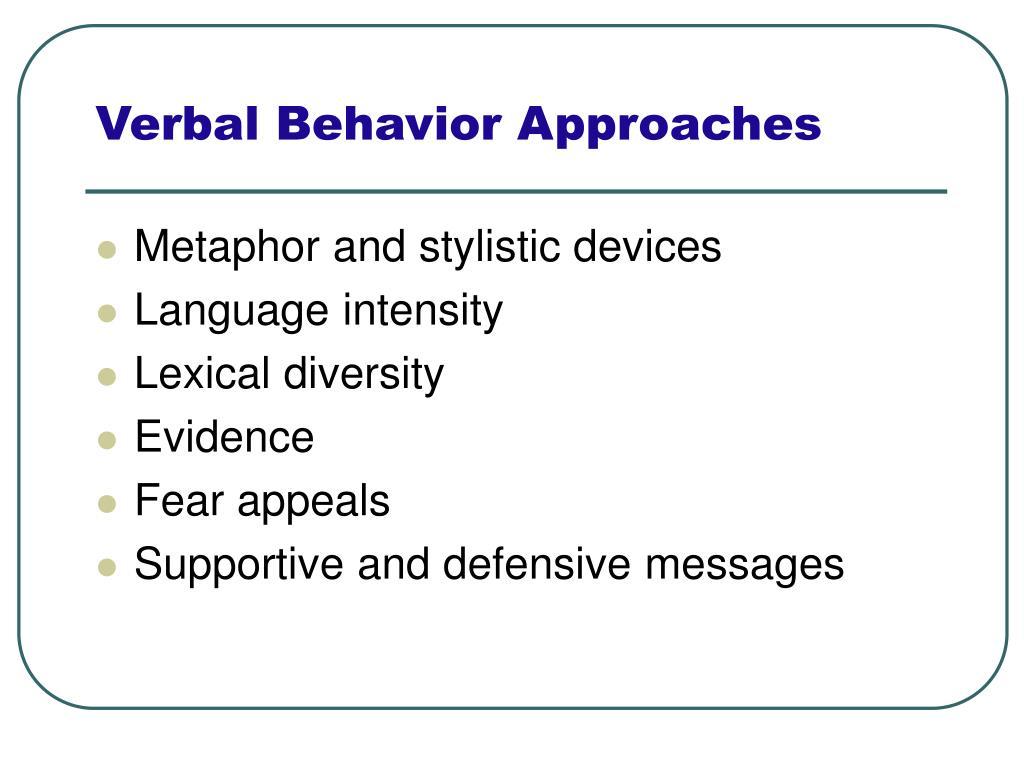 Verbal Behavior Approaches