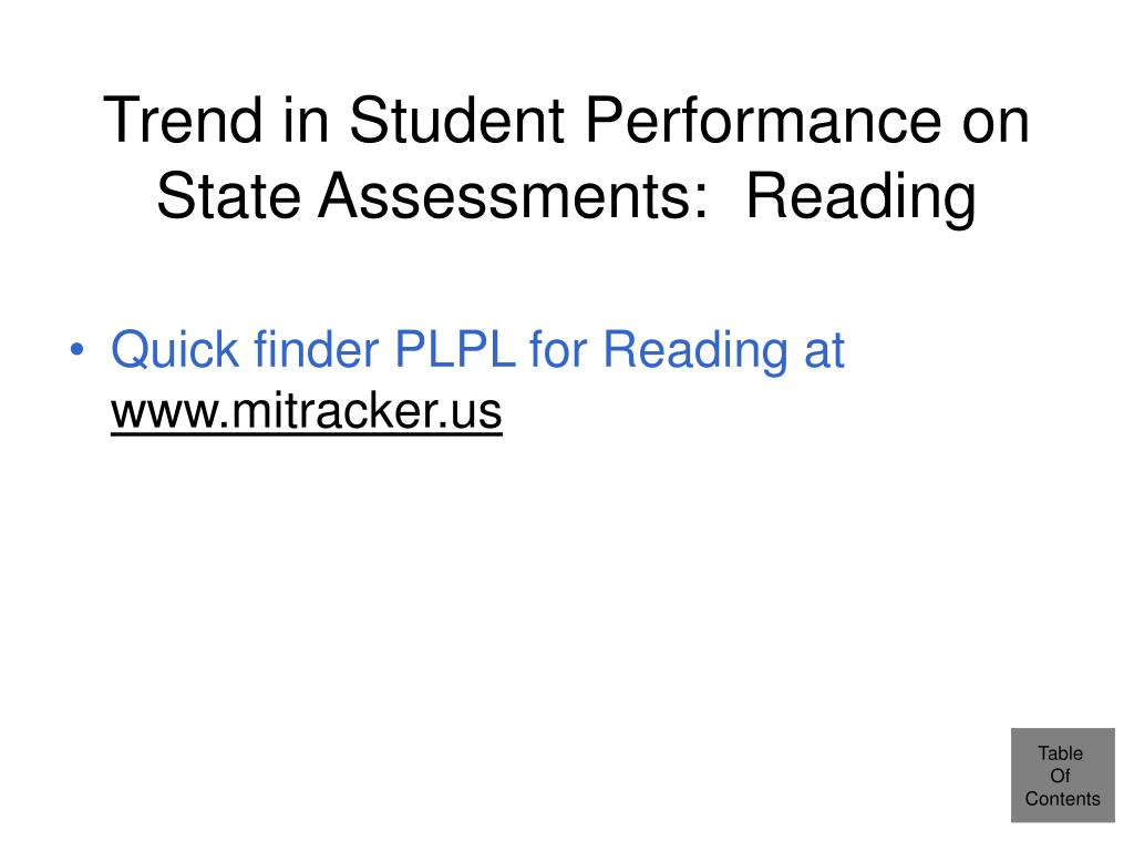 Trend in Student Performance on State Assessments:  Reading