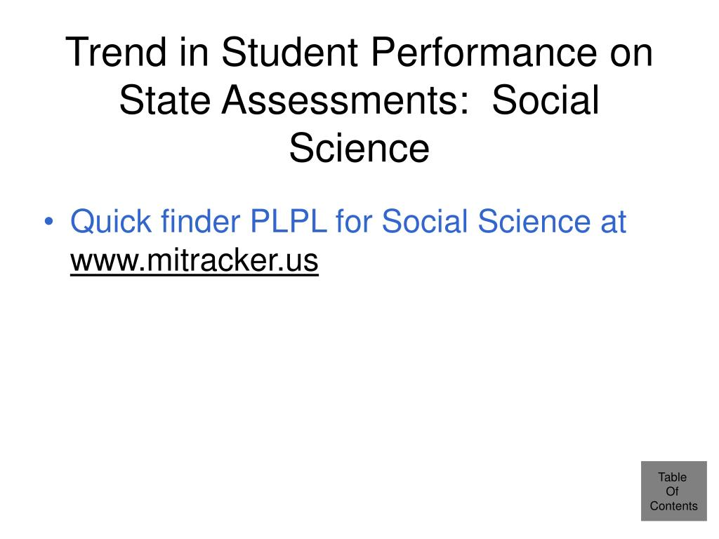 Trend in Student Performance on State Assessments:  Social Science