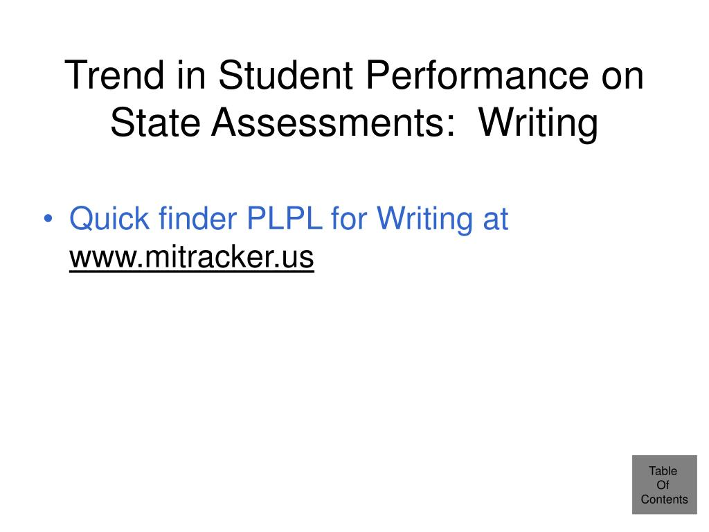 Trend in Student Performance on State Assessments:  Writing