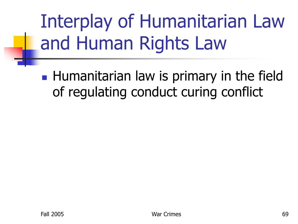 Interplay of Humanitarian Law and Human Rights Law