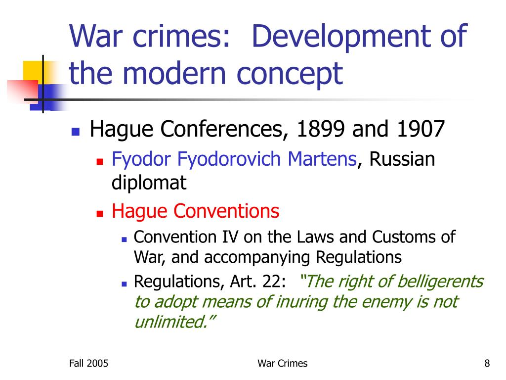 War crimes:  Development of the modern concept