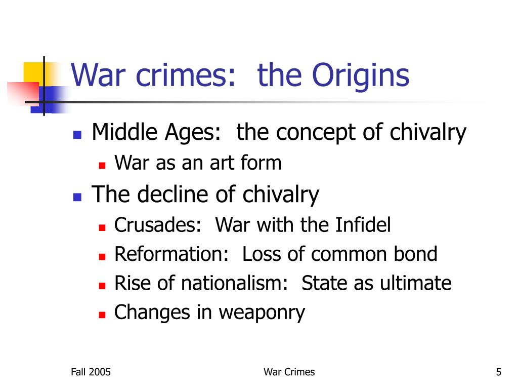 War crimes:  the Origins