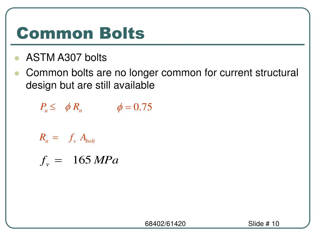 Common Bolts