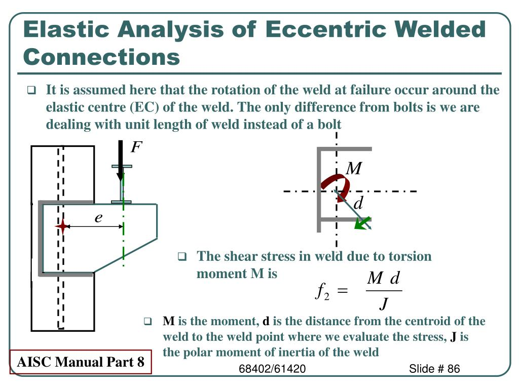 Elastic Analysis of Eccentric Welded Connections