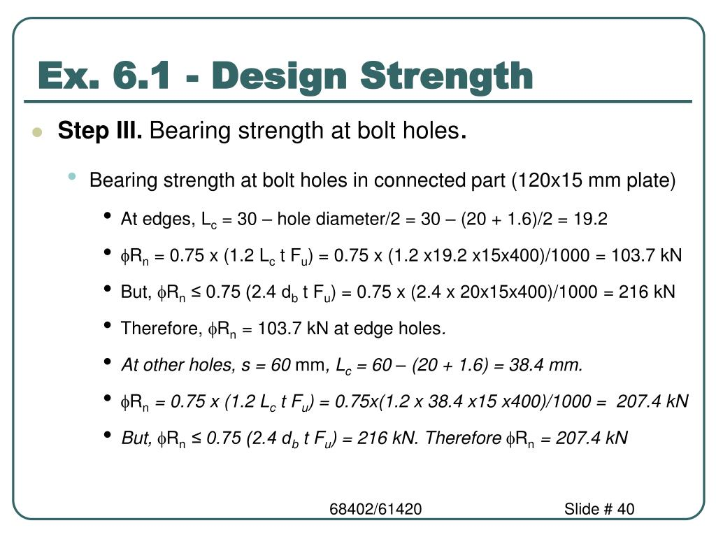Ex. 6.1 - Design Strength
