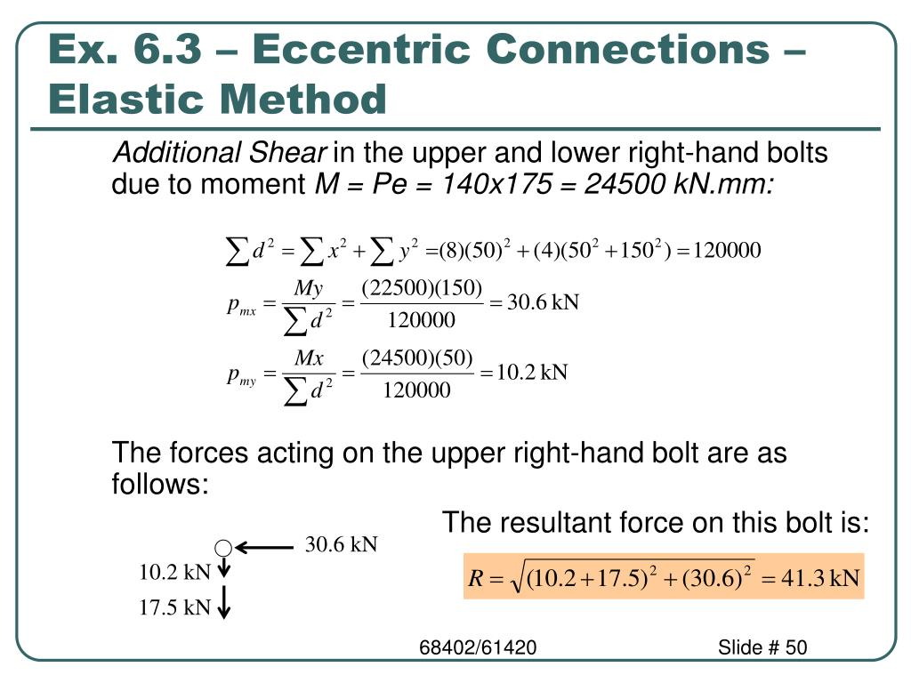 Ex. 6.3 – Eccentric Connections – Elastic Method