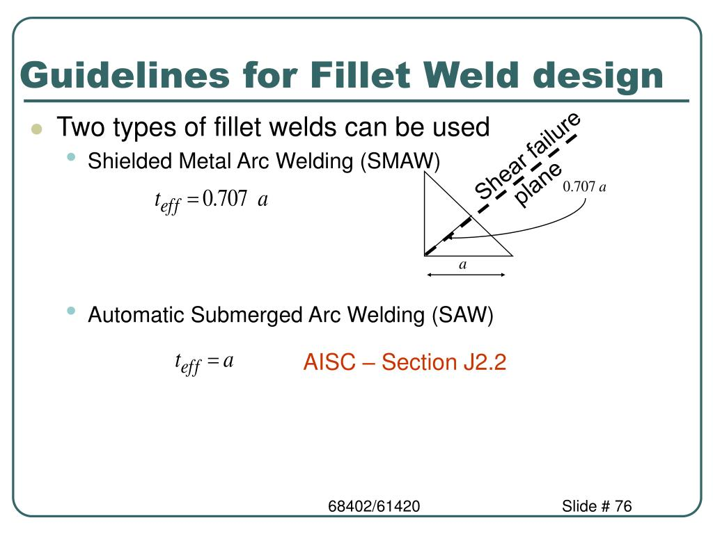 Guidelines for Fillet Weld design