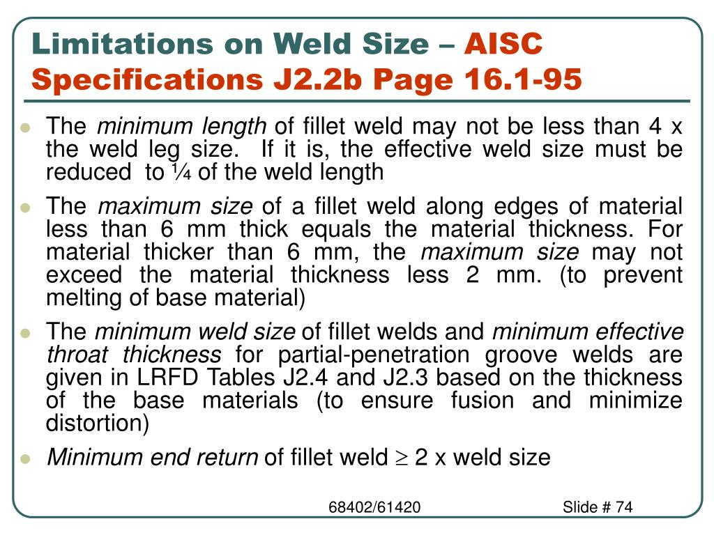 Limitations on Weld Size –