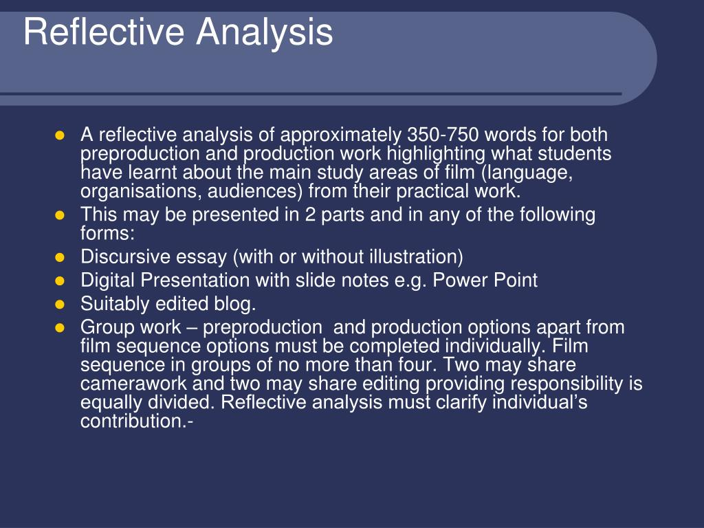 Reflective Analysis