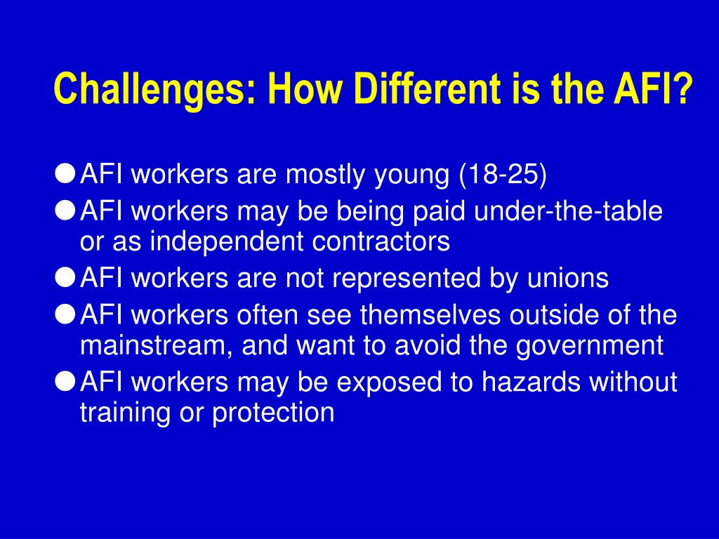 Challenges: How Different is the AFI?