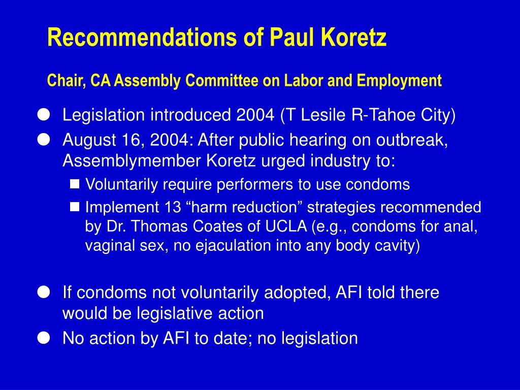 Recommendations of Paul Koretz