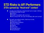 std risks to afi performers stds spread by fecal oral contact