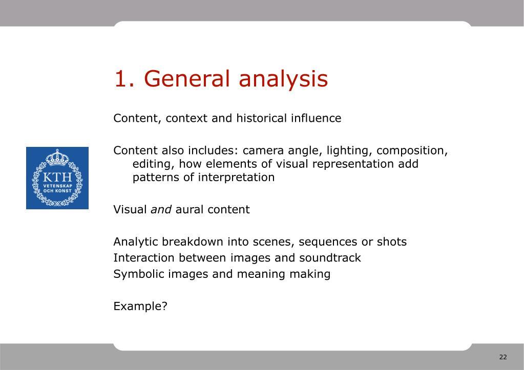 1. General analysis
