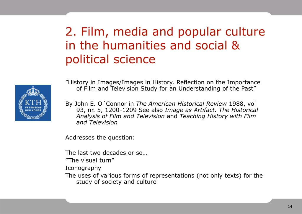 2. Film, media and popular culture in the humanities and social & political science
